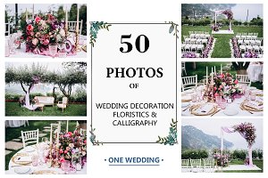 50 PHOTOS SET of WEDDING DECORATION
