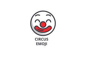 circus emoji vector line icon, sign, illustration on background, editable strokes