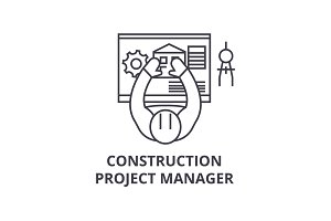 construction project manager vector line icon, sign, illustration on background, editable strokes