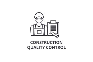 construction quality control vector line icon, sign, illustration on background, editable strokes