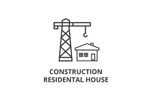 construction residental house vector line icon, sign, illustration on background, editable strokes