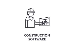 construction software vector line icon, sign, illustration on background, editable strokes