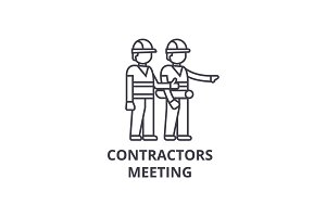 contractors meeting vector line icon, sign, illustration on background, editable strokes