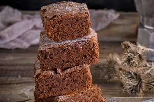 square pieces of brownie