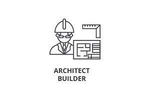 architect contractor vector line icon, sign, illustration on background, editable strokes