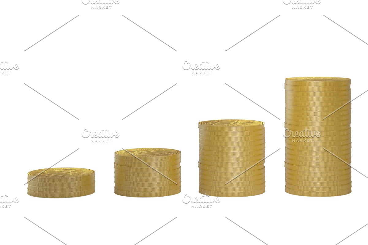 Gold Coins In Columns In Ascending Order Isolated On White Background