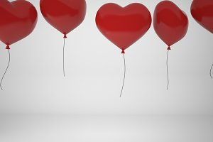 3D rendering  red balloons in form of heart isolated on white background, illustration