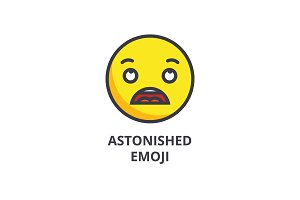 astonished emoji vector line icon, sign, illustration on background, editable strokes