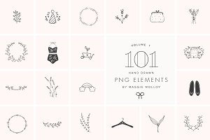 PNG 101 Hand Drawn Logo Elements