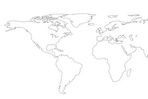 drawing outline World map isolated on white background. infographics, illustration