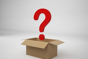 3D Rendering corrugated box and question mark isolated on white background, illustration, mock up