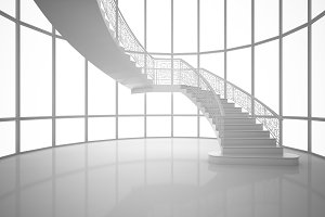 3D Rendering white curved staircase in a house, interior illustration, mock up