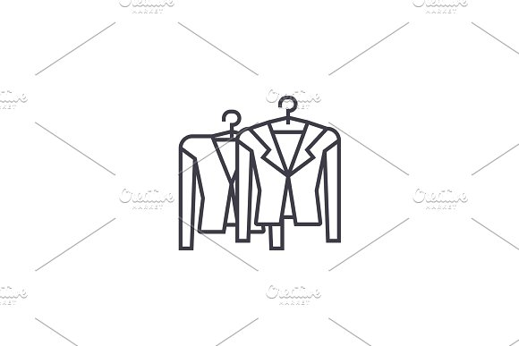 clothing on racks vector line icon, sign, illustration on background, editable strokes