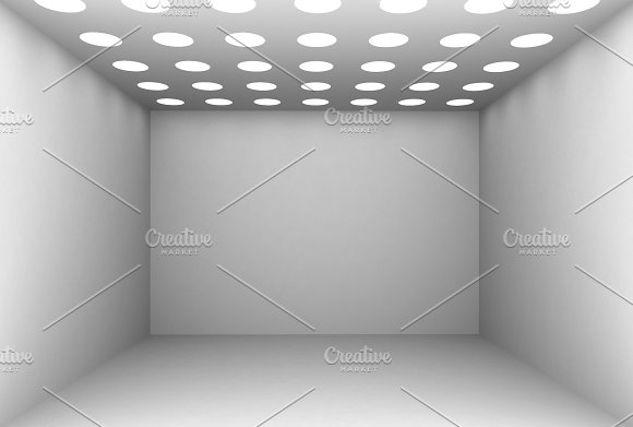 3D Rendering white wall and lights, illustration