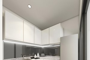 3D Rendering modern kitchen, interior illustration