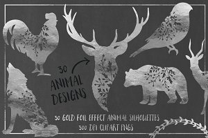 30 Silver Foil Effect Floral Animals