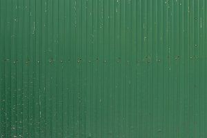 A green corrugated iron metal, Zinc wall, background