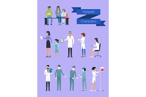 Hospital Characters Collection Vector Illustration