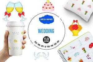 Wedding icons set, cartoon style