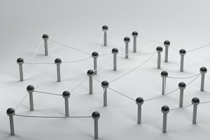 Connection Pin network on social media, 3d rendering communication