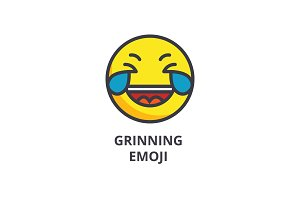 grinning emoji wit h face vector line icon, sign, illustration on background, editable strokes