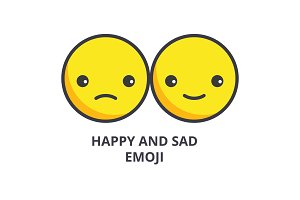 happy and sad emoji vector line icon, sign, illustration on background, editable strokes
