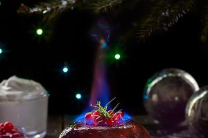 Burning christmas pudding