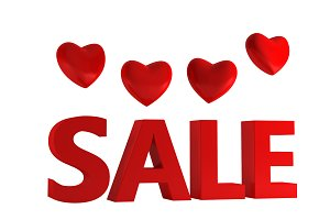 3D Valentine sale isolated on white background, illustration