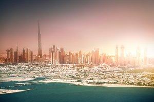 Dubai coastline at sunset