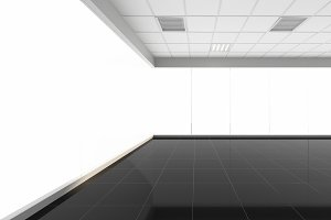 3d rendering empty office with white background, interior illustration