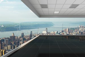 3d rendering empty office with new york city background, interior illustration