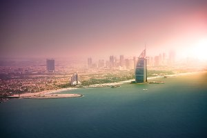 Beautiful panoramic view of Dubai
