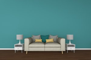 3D Rendering living room isolated on colorful background, interior illustration