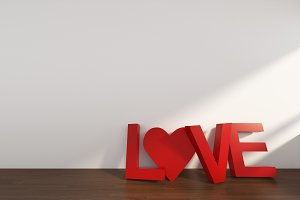 3D Rendering Love Text in a room with white wall,Valentine's day, illustration