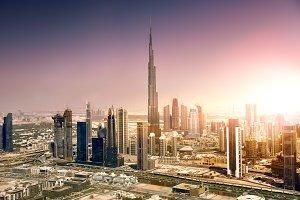 Dubai downtown at sunset, United Ara