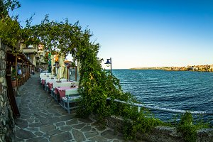 Street cafe view of Sozopol old town