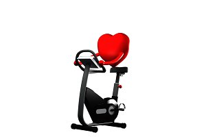 Red Heart Working out on Elliptical, exercising for health on white background