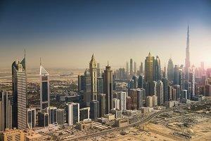 Dubai skyline from the air