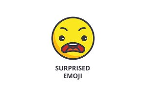 surprised emoji vector line icon, sign, illustration on background, editable strokes