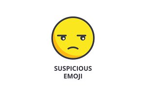 suspicious emoji vector line icon, sign, illustration on background, editable strokes