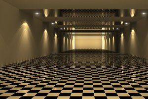 3D Rendering of Checkered Room