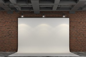 3D Projector Screen on brick wall
