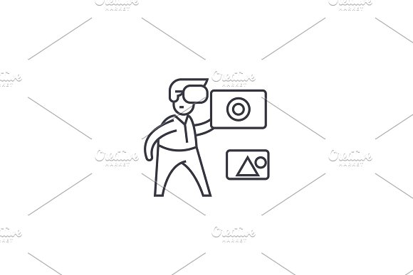 virtual assistent vector line icon, sign, illustration on background, editable strokes