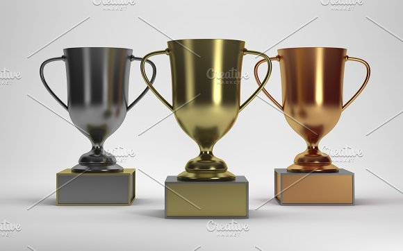 3D Rendering Trophies on white background