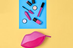 Cosmetic Minimal Makeup Set. Beauty Essentials.