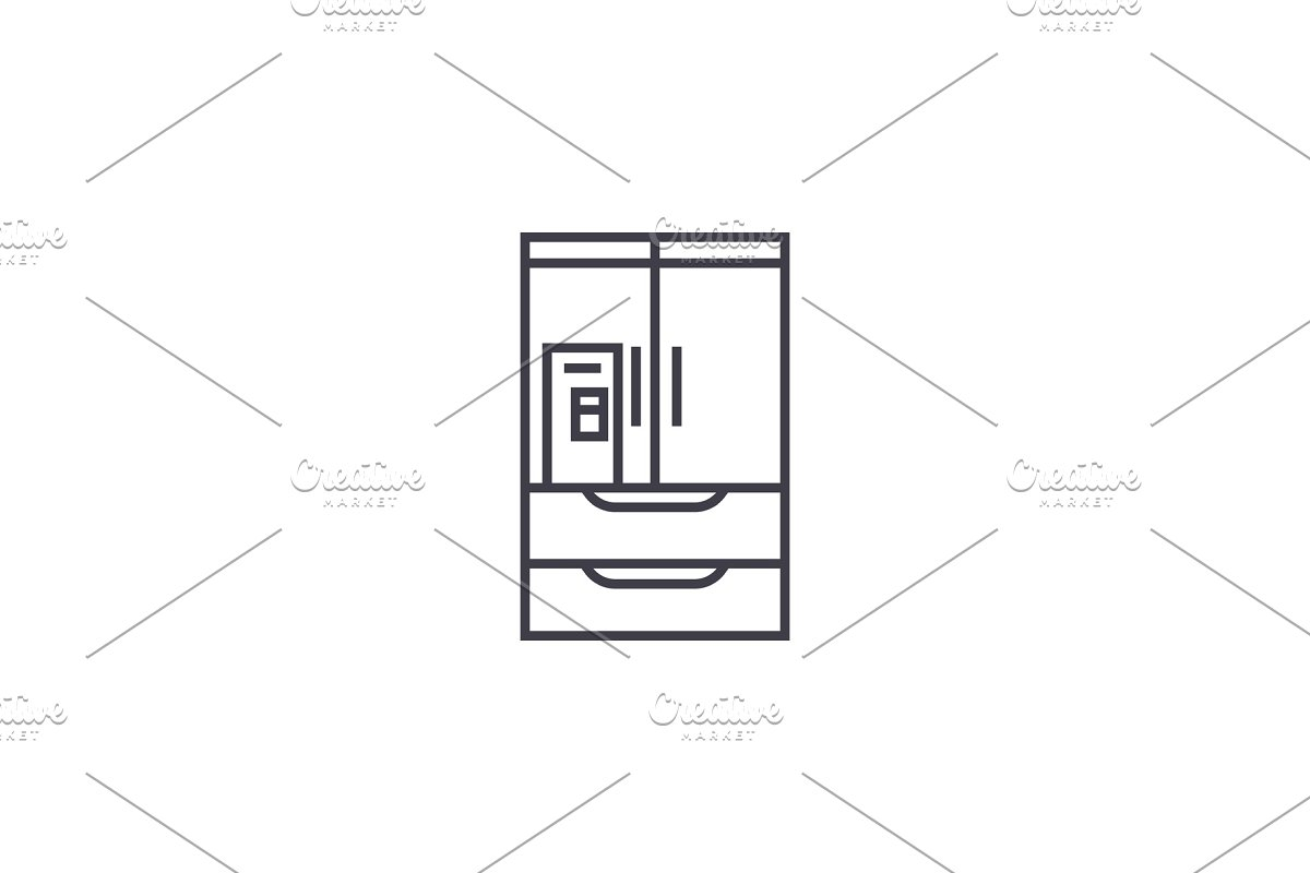wardrobe closet vector line icon, sign, illustration on background, editable strokes