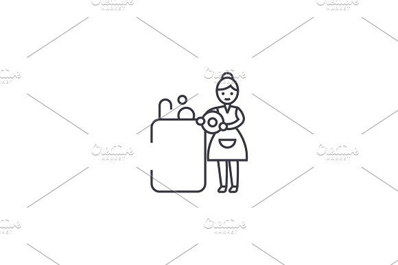 washing dishes vector line icon, sign, illustration on background, editable strokes