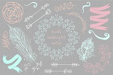 Handdraw doodle boho wedding kit