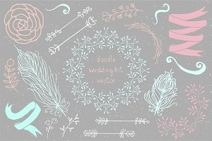 Handdraw doodle boho wedding kit