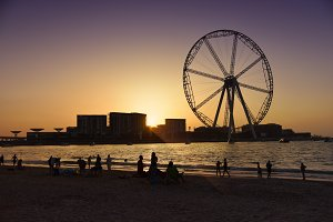Dubai wheel at sunset